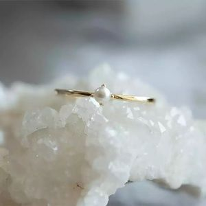Jewelry - Minimalist dainty pearl ring boho chic golden
